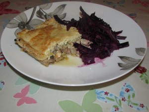 Chicken pie and red cabbage