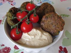 Homemade gluten free greens falafels