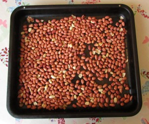 Roasting peanuts to make organic peanut butter