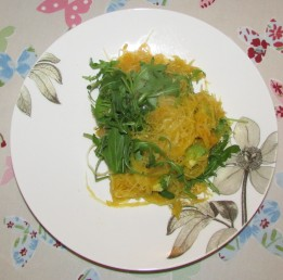 Spaghetti squash with parsley garlic butter