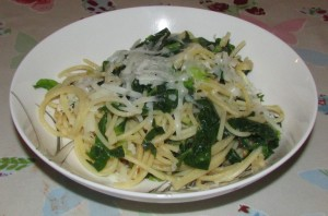 Spring cabbage spaghetti