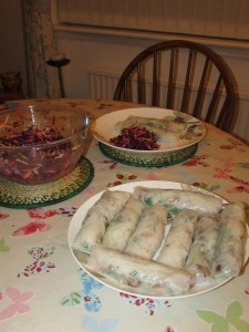 Vietnamese rice wraps and asian coleslaw 2