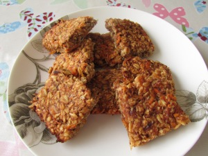 Carrot and banana flapjacks