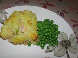 frugal fish pie and peas