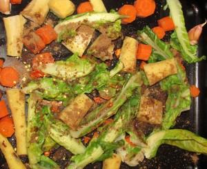 Roasting cauliflower leaves for soup