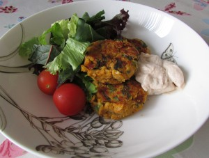 Sweet potato falafel with tahini dressing