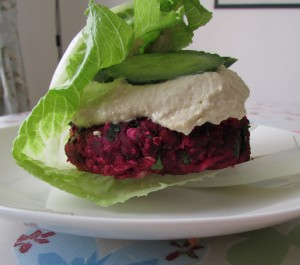 Beetroot and feta burger