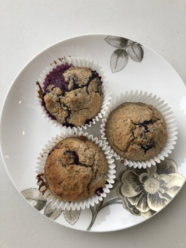 Three muffins on plate
